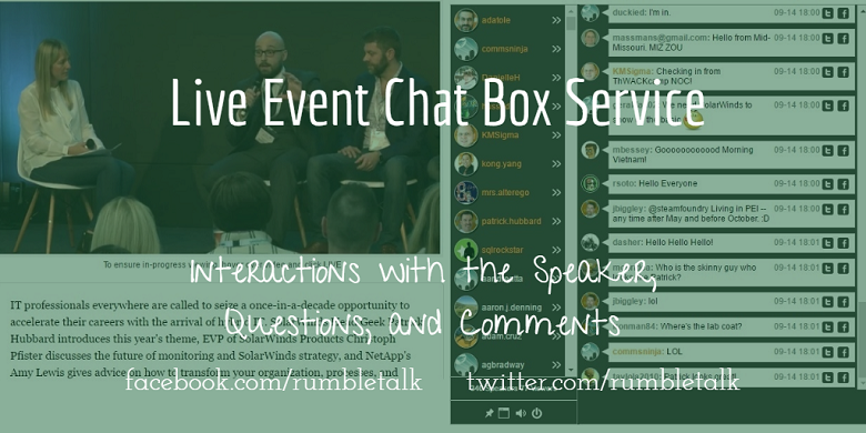 Live event chat box service
