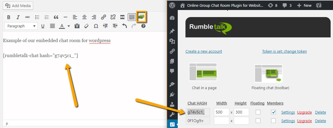 Embed the chatroom in your site